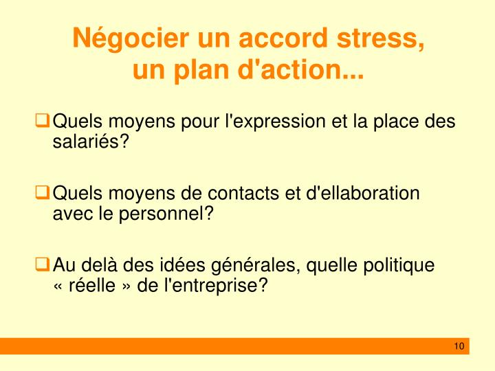 Négocier un accord stress,