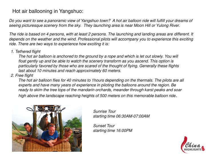 Hot air ballooning in Yangshuo: