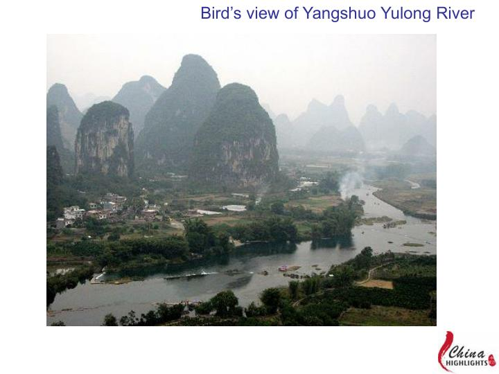 Bird's view of Yangshuo Yulong River