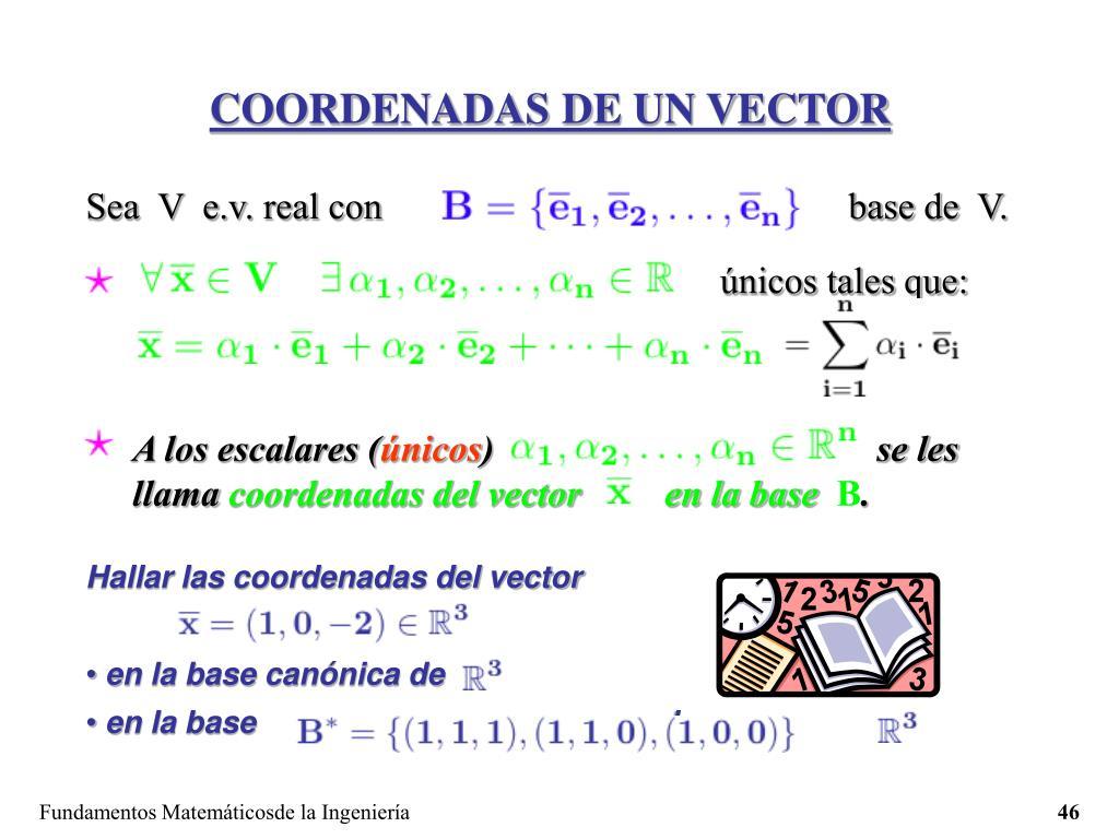 COORDENADAS DE UN VECTOR