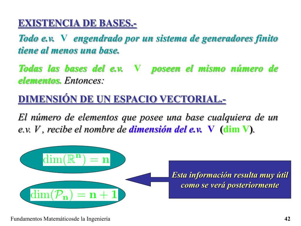 EXISTENCIA DE BASES.-