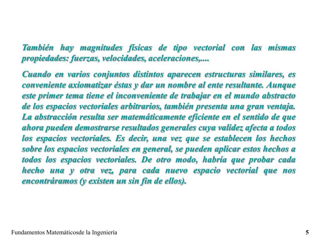 También hay magnitudes físicas de tipo vectorial con las mismas propiedades: fuerzas, velocidades, aceleraciones,....
