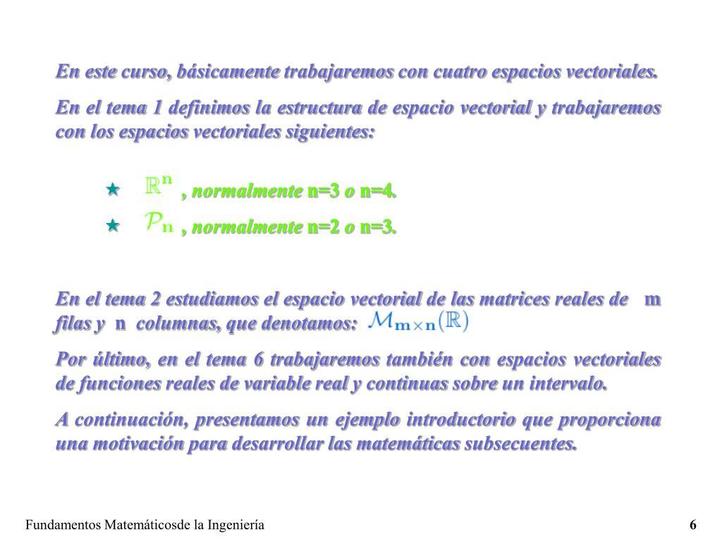 En este curso, básicamente trabajaremos con cuatro espacios vectoriales.