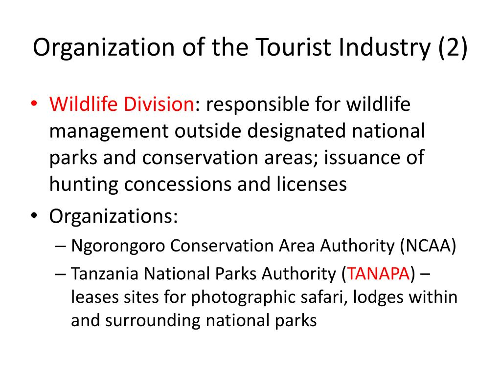 Organization of the Tourist Industry (2)