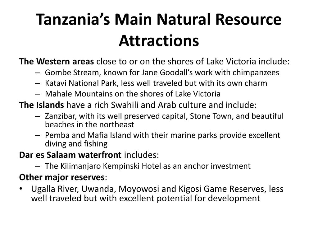 Tanzania's Main Natural Resource Attractions