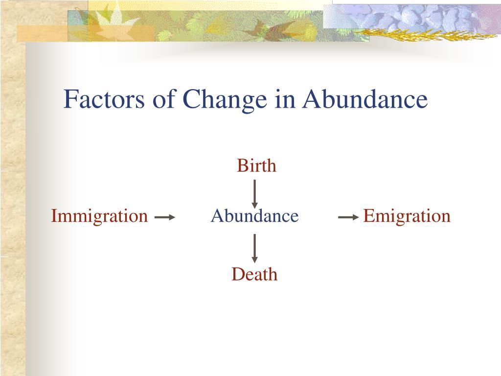 Factors of Change in Abundance