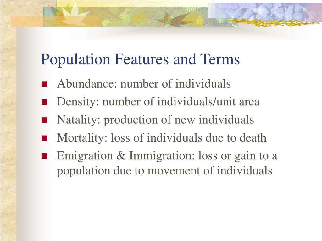 Population Features and Terms
