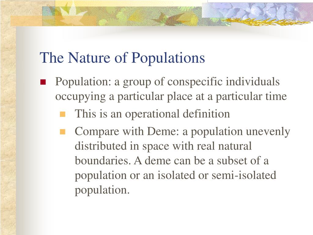 The Nature of Populations