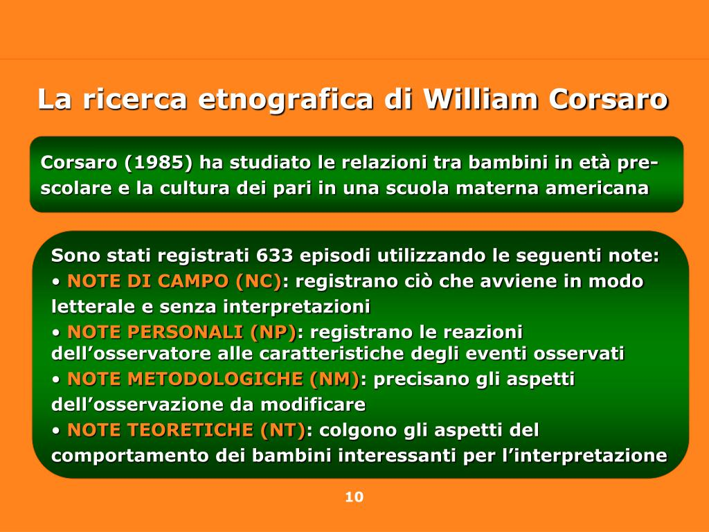 La ricerca etnografica di William Corsaro
