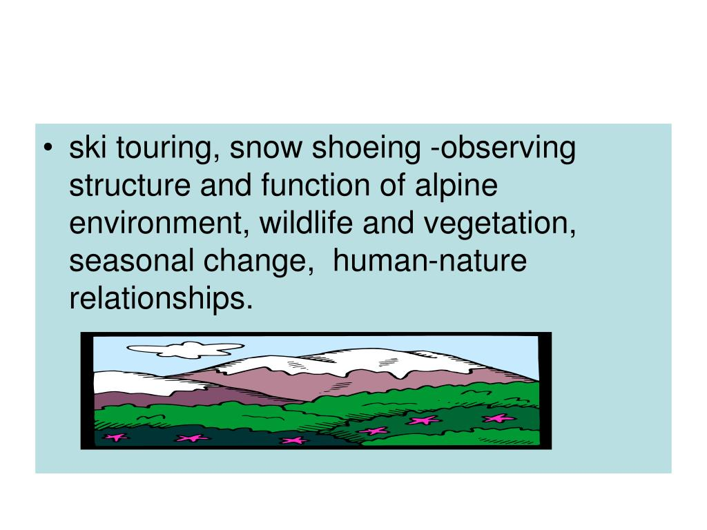 ski touring, snow shoeing -observing structure and function of alpine environment, wildlife and vegetation, seasonal change,  human-nature relationships.