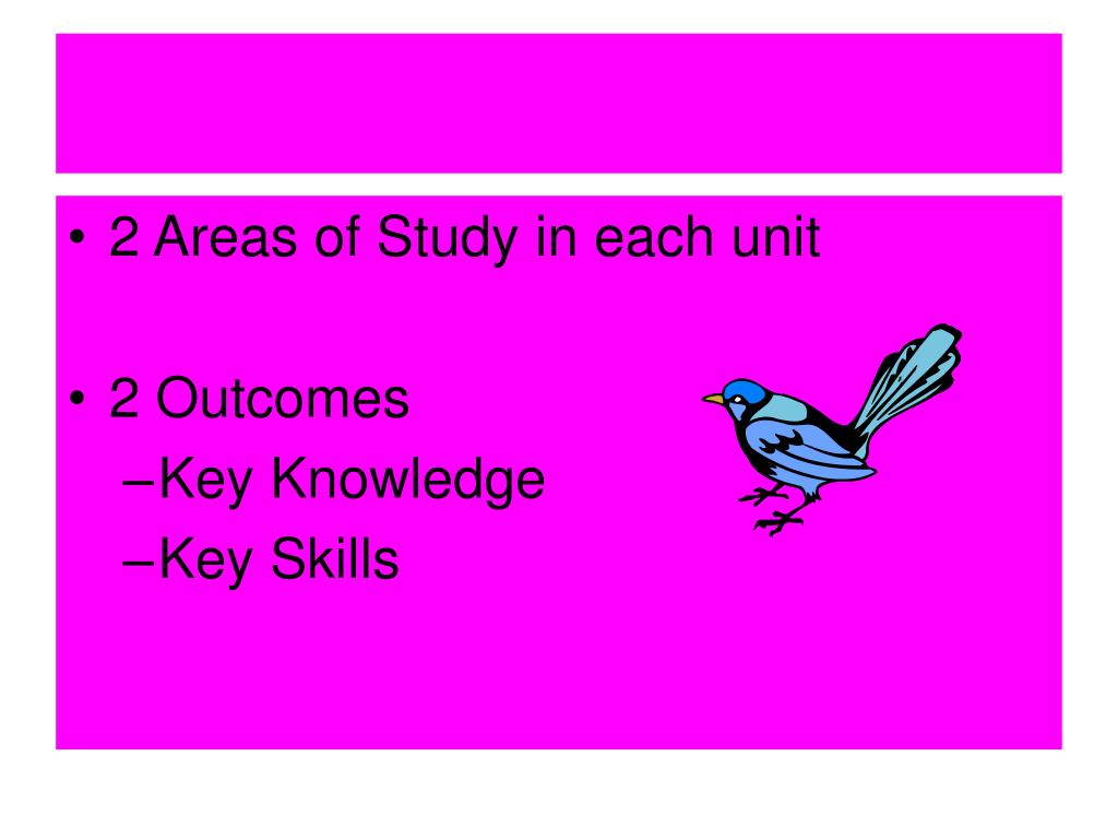 2 Areas of Study in each unit