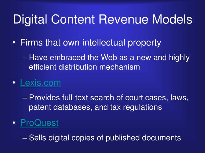 Digital Content Revenue Models