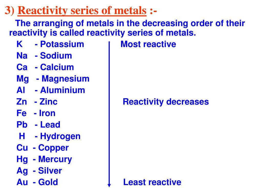 Reactivity Chemistry PPT - CHAPTER - 3 META...