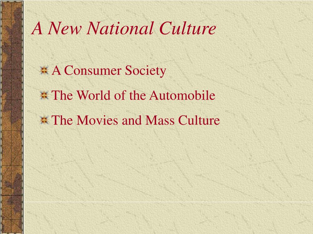 A New National Culture