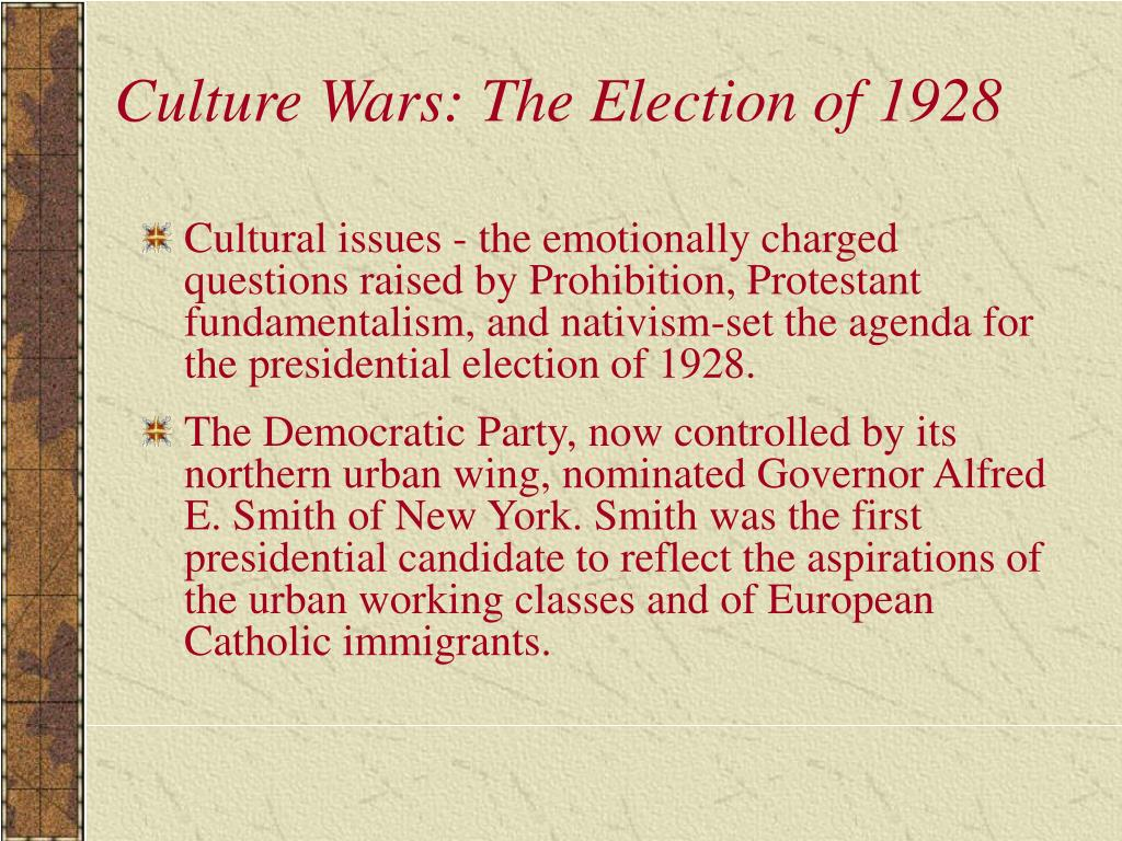 Culture Wars: The Election of 1928