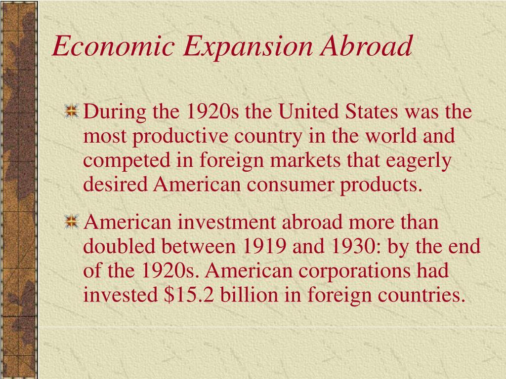 Economic Expansion Abroad