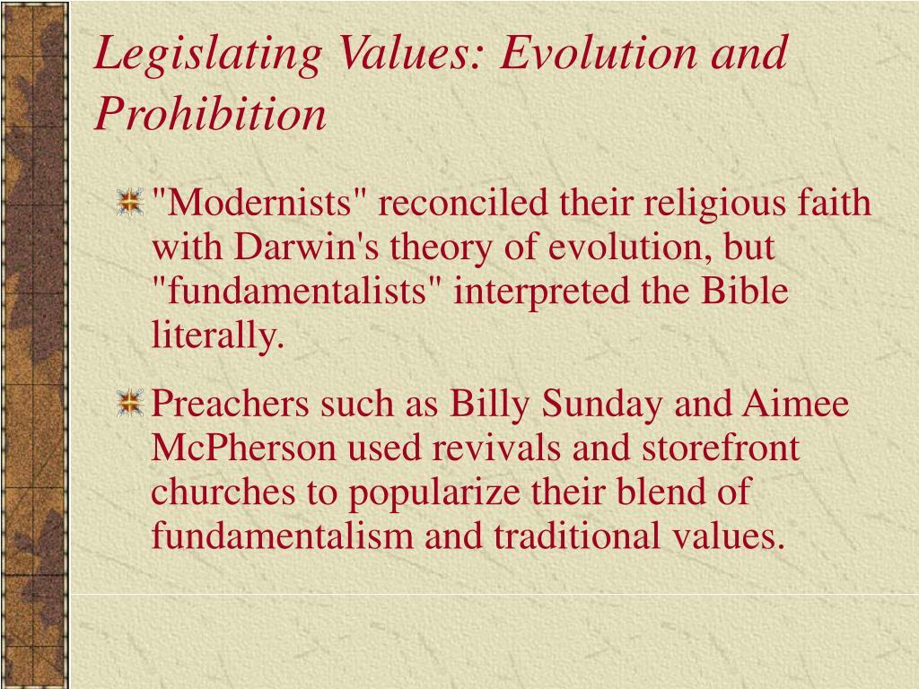 Legislating Values: Evolution and Prohibition