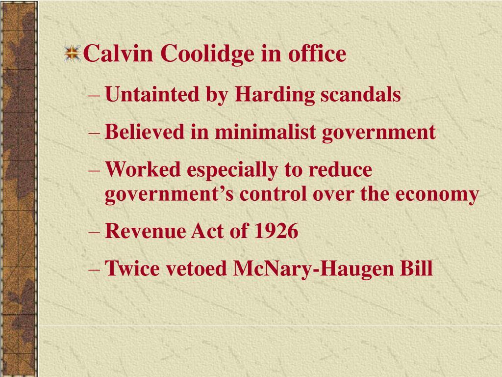 Calvin Coolidge in office