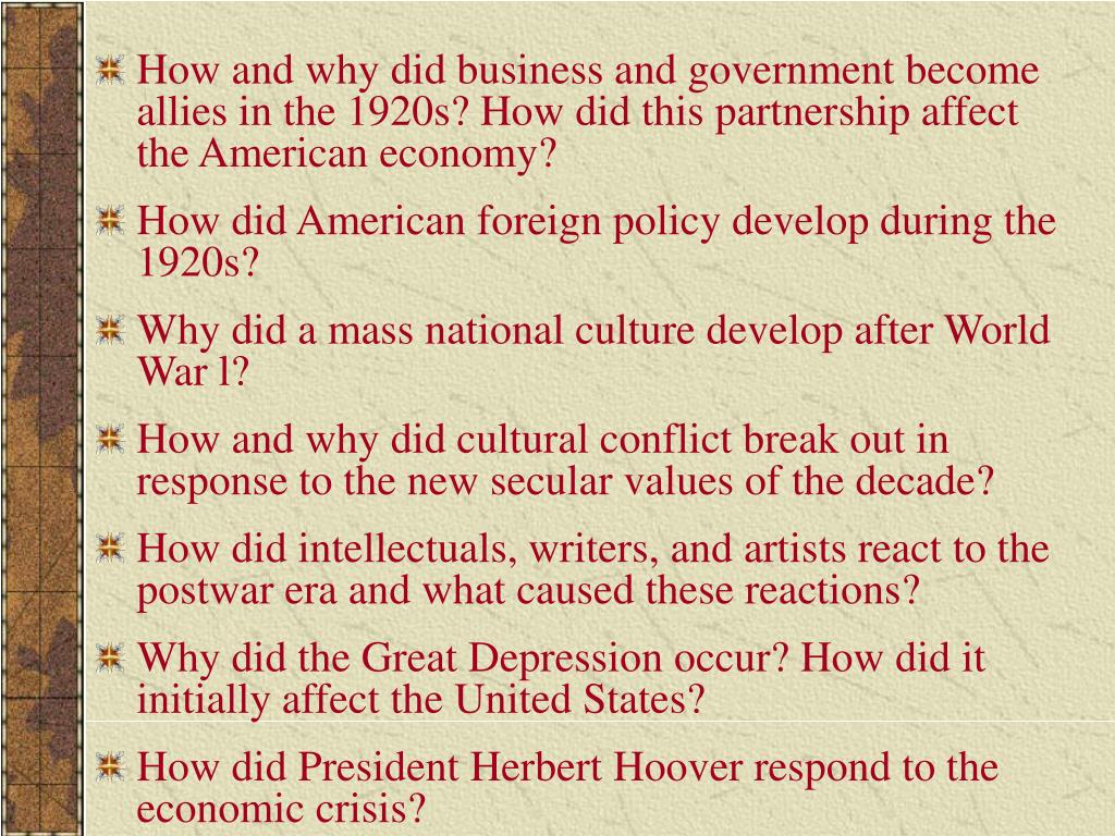 How and why did business and government become allies in the 1920s? How did this partnership affect the American economy?