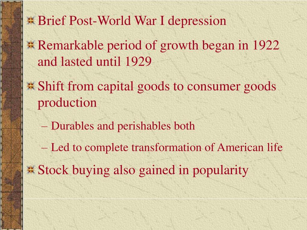 Brief Post-World War I depression