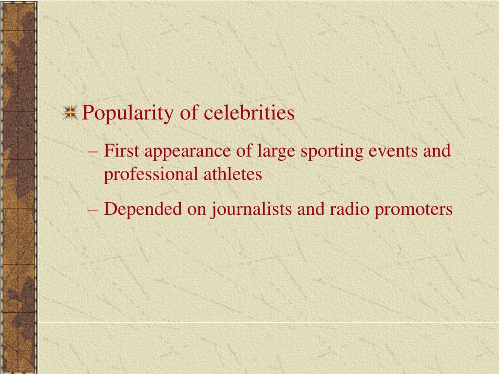 Popularity of celebrities
