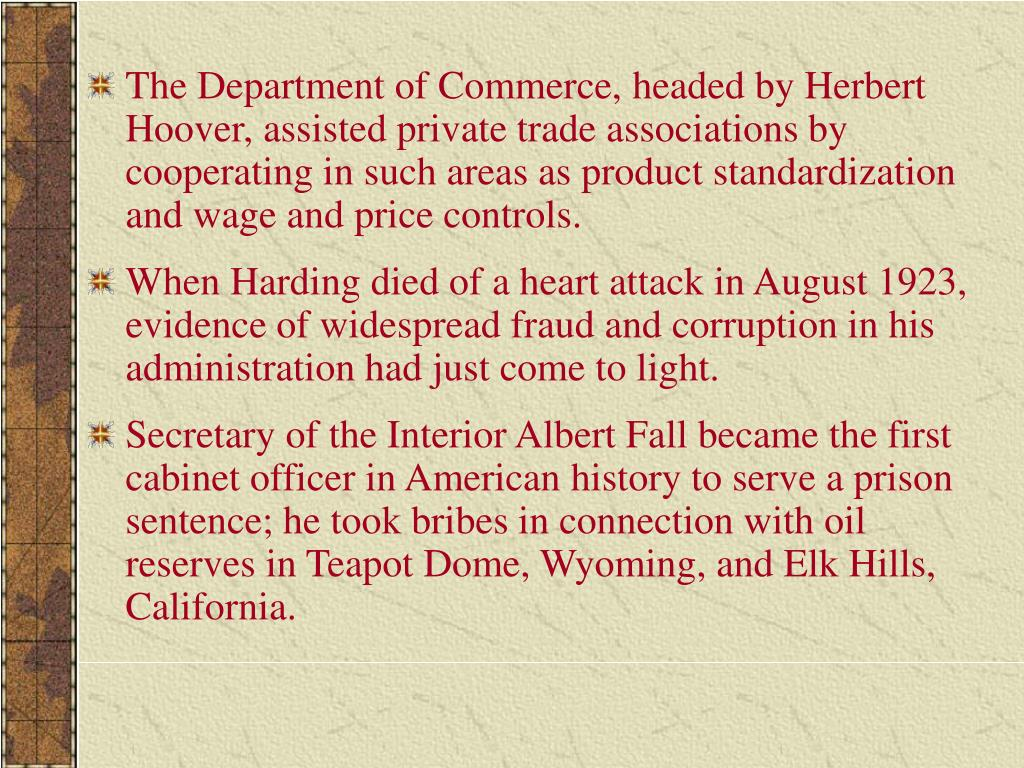 The Department of Commerce, headed by Herbert Hoover, assisted private trade associations by cooperating in such areas as product standardization and wage and price controls.