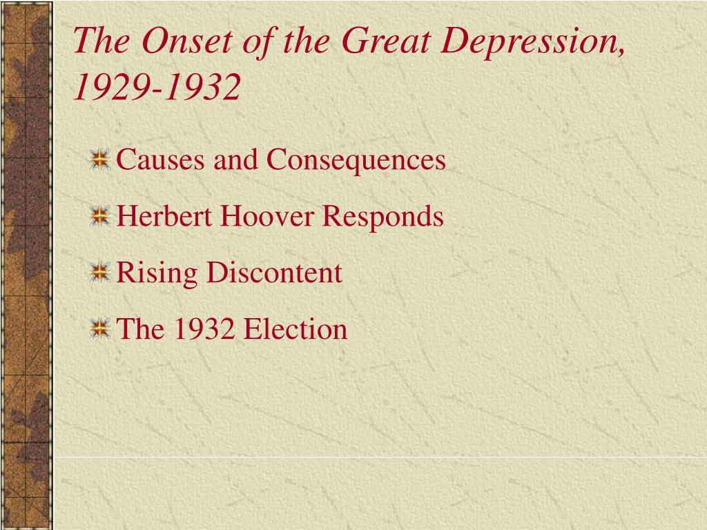 The Onset of the Great Depression, 1929-1932
