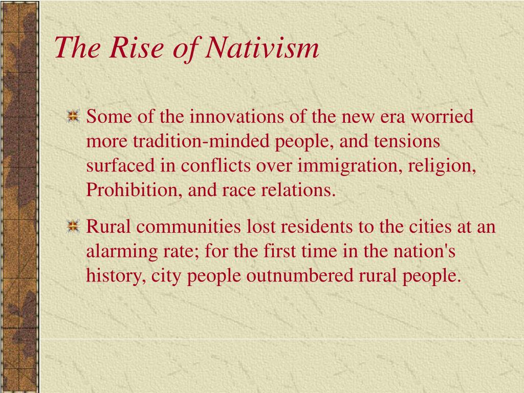 The Rise of Nativism