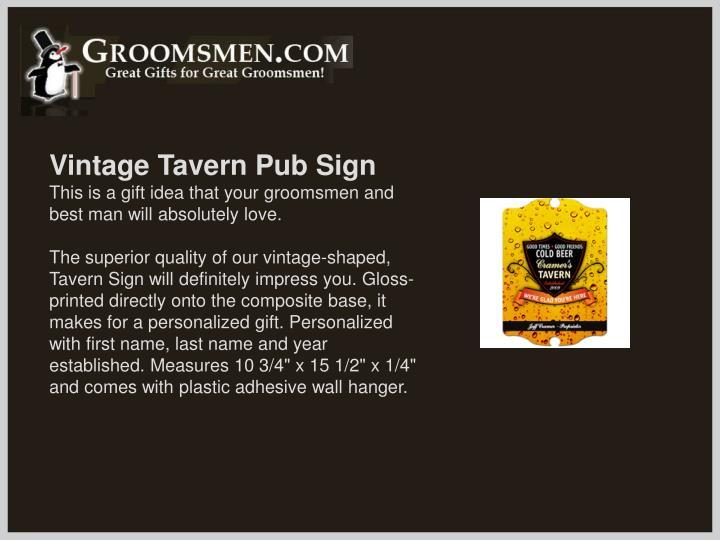 Vintage Tavern Pub Sign