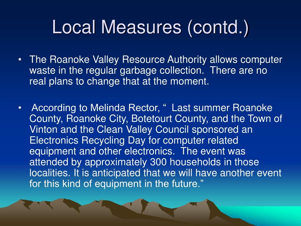 Local Measures (contd.)