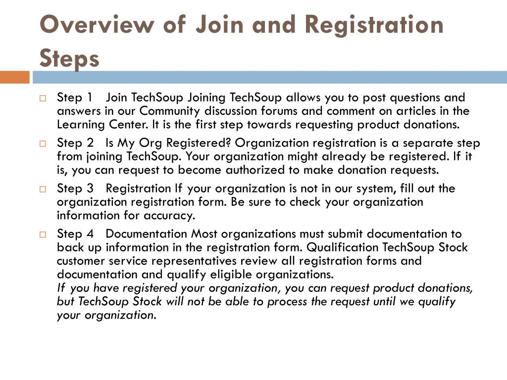 Overview of Join and Registration Steps