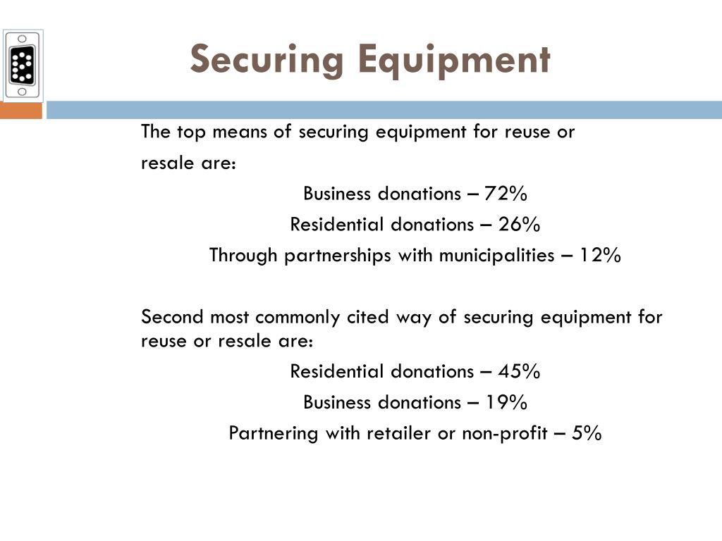 The top means of securing equipment for reuse or