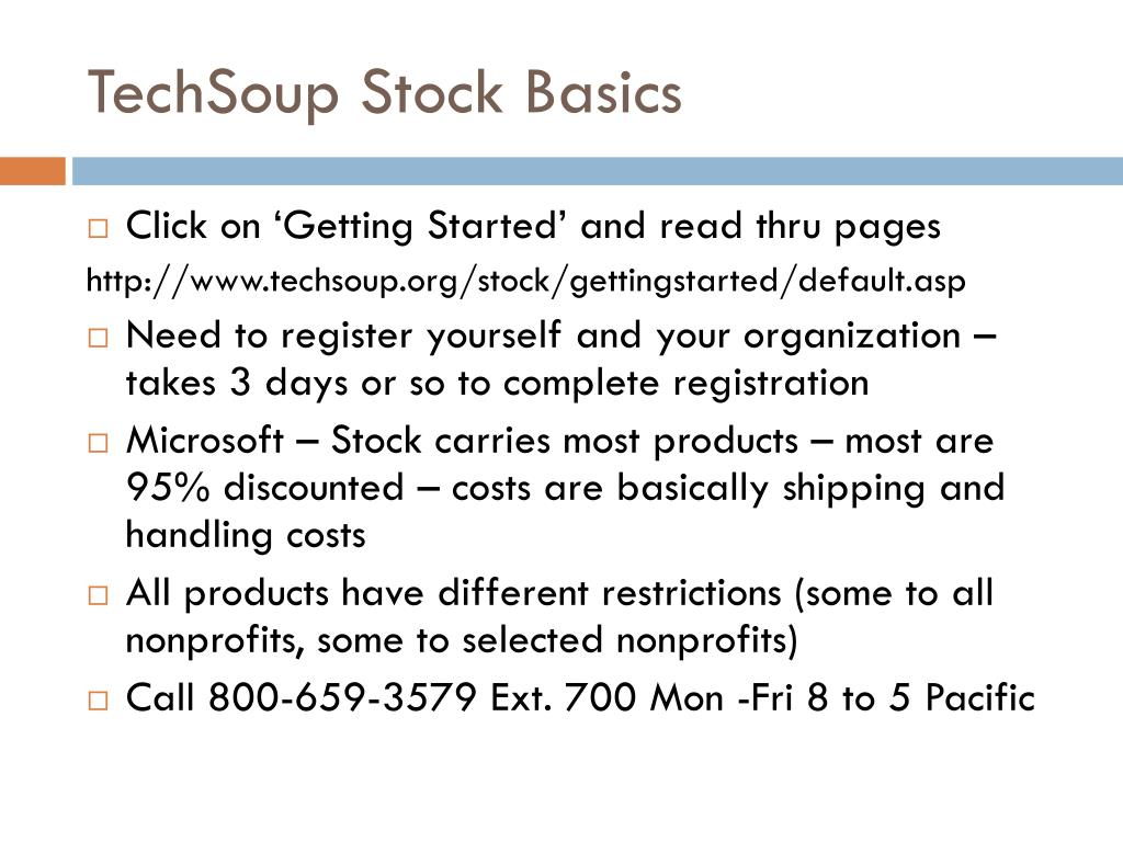 TechSoup Stock Basics