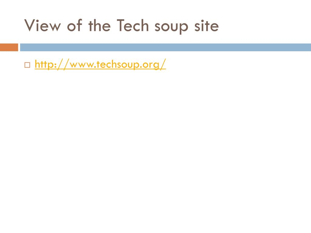 View of the Tech soup site