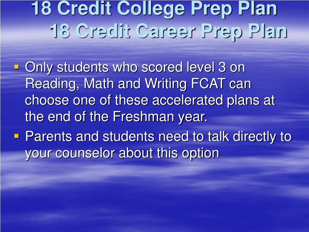 18 Credit College Prep Plan