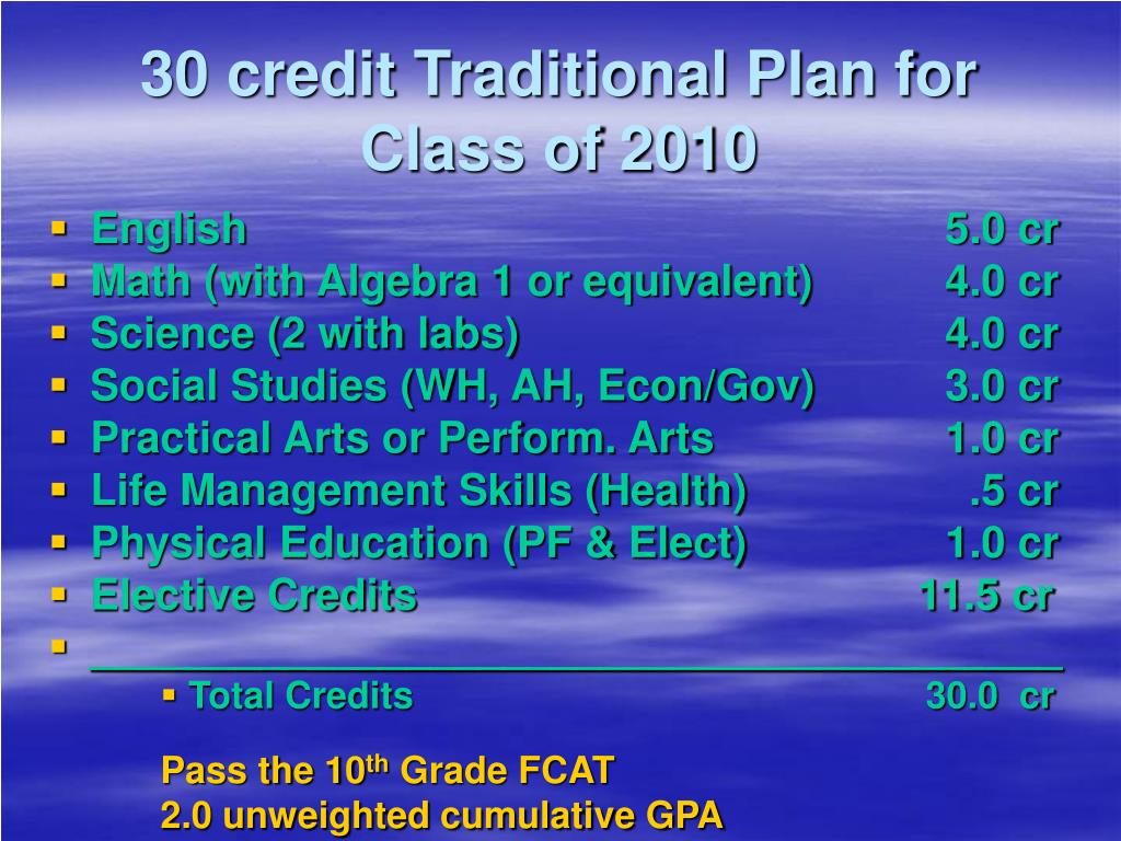 30 credit Traditional Plan for Class of 2010
