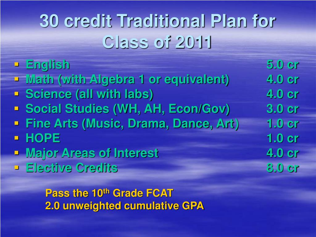 30 credit Traditional Plan for Class of 2011