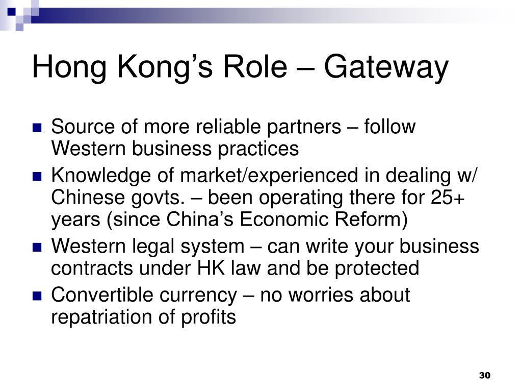Hong Kong's Role – Gateway