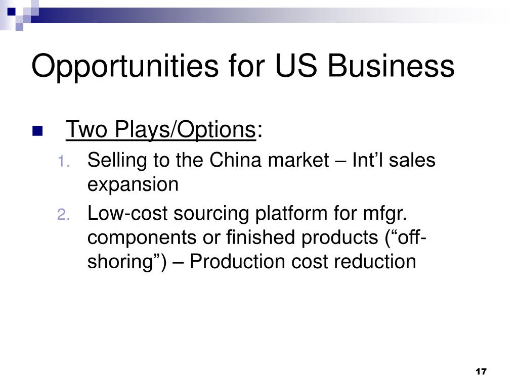 Opportunities for US Business