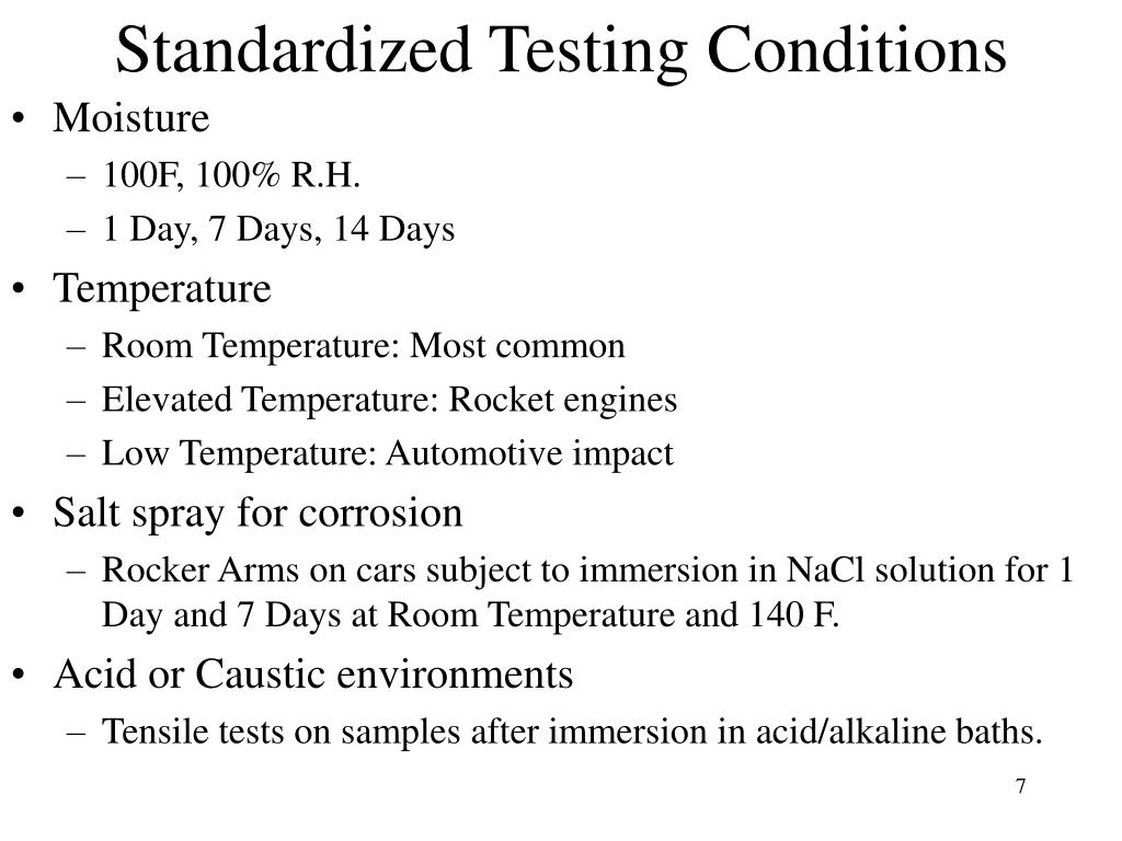 Standardized Testing Conditions