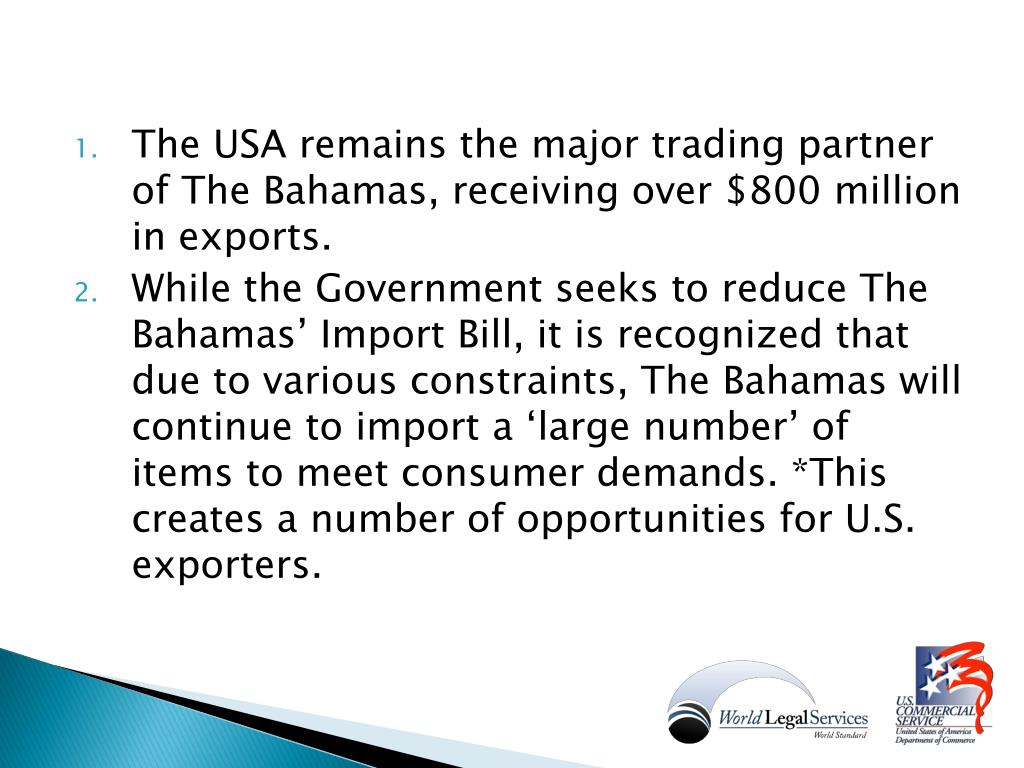 The USA remains the major trading partner of The Bahamas, receiving over $800 million in exports.