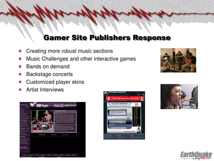 Gamer Site Publishers Response