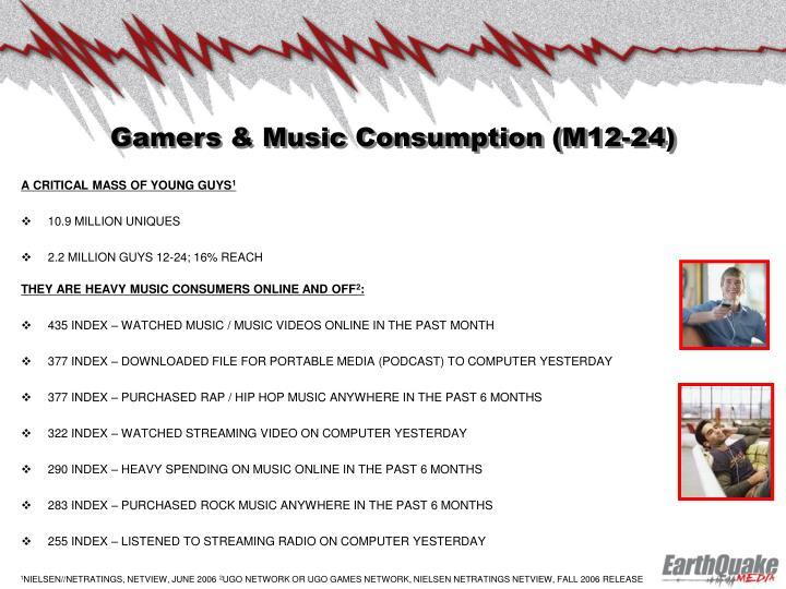 Gamers & Music Consumption (M12-24)