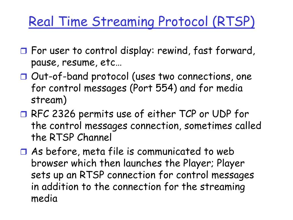 Real Time Streaming Protocol (RTSP)