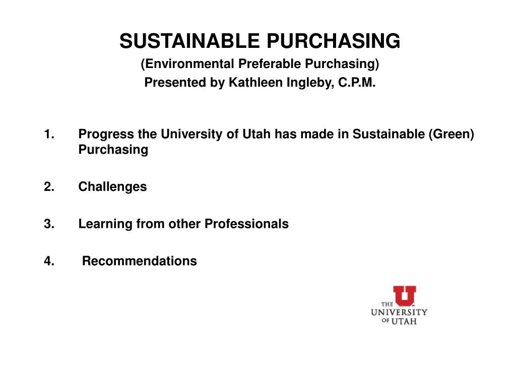 SUSTAINABLE PURCHASING