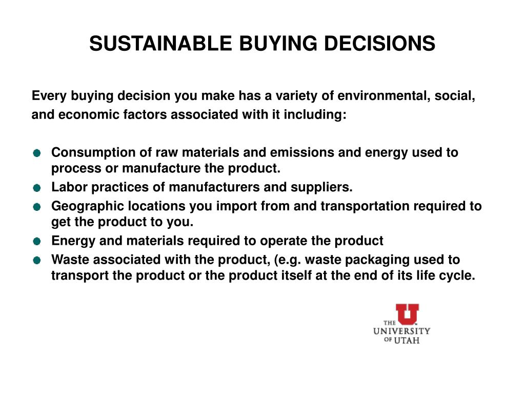 SUSTAINABLE BUYING DECISIONS