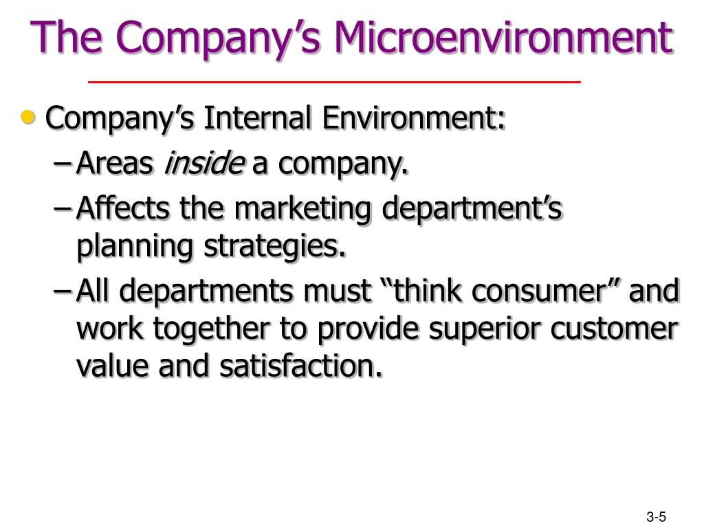 analysis of the marketing environment microenvironment Its elements include suppliers, competitors, marketing intermediaries, customers and the firm itself the study of the micro environment is described as cosmic analysis second: macro (external) environment the general environment within the economy that influences the working, performance, decision.