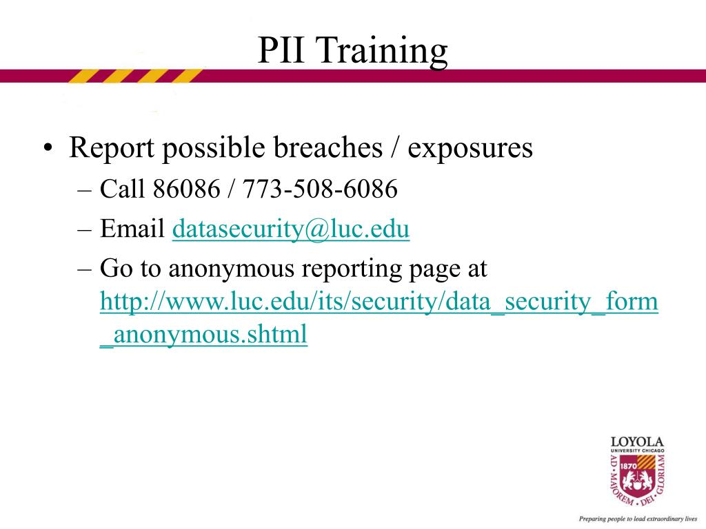 Report possible breaches / exposures