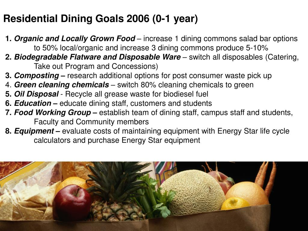 Residential Dining Goals 2006 (0-1 year)