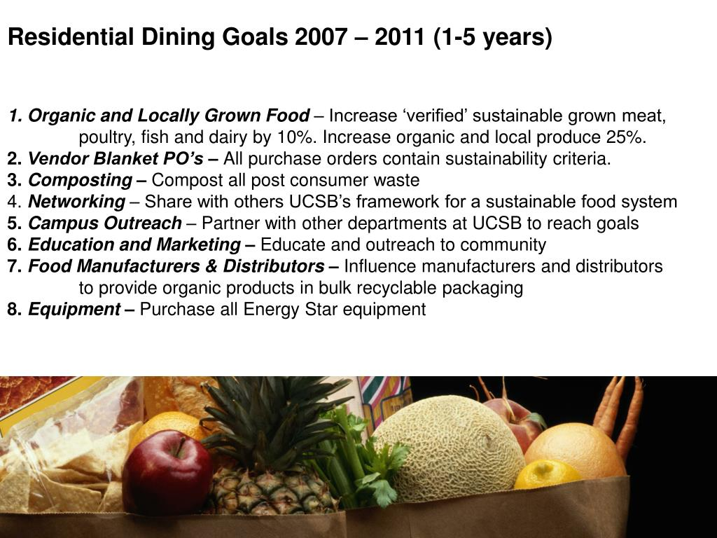 Residential Dining Goals 2007 – 2011 (1-5 years)